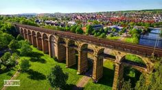 Drone exploring beautiful german city with a railway viaduct #outdoors #nature…