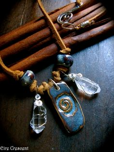Spiral of Life Rustic ceramic and quartz necklace by EireCrescent