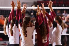 The #Elon women's volleyball team celebrates its win over Campbell.