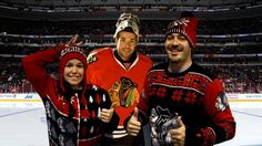 It looks like these fans had some fun modeling the new Klew ugly sweaters at the #Blackhawks Store on Michigan Avenue!