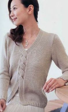 Wrapped cable front v-neck sweater