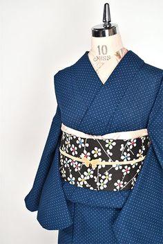 ネイビーブルーにグリーンドット愛らしい綿化繊単着物 - アンティーク着物・リサイクル着物のオンラインショップ 姉妹屋