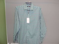 Stone Rose Designer Green Gingham Plaid Casual 100% Cotton Shirt SZ 5/XL NWT  #StoneRose #ButtonFront