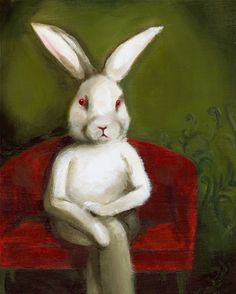White Rabbit art Edgar large print by amberalexander on Etsy Lapin Art, Rabbit Run, Bunny Rabbit, Year Of The Rabbit, White Rabbits, Bunny Art, Funny Bunnies, Hanging Art, Oeuvre D'art