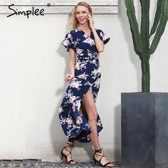 Simplee Boho floral print mermaid long dress Summer beach vintage split women dress robe Elegant sashes bow maxi dress vestidos