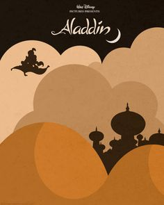 Minimalist Aladdin poster by Hydrogene. This artist makes posters for Disney movies, films like Pulp Fiction, posters for scientists… totally cool. Aladdin Musical, Aladdin Art, Aladdin 1992, Disney Films, Disney Movie Posters, Film Posters, Disney Pixar, Disney Animation, Animation Movies