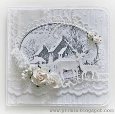 Christmas Card - All essential products for this project can be found on Crafting.co.uk - for all your crafting needs. - White Vintage card