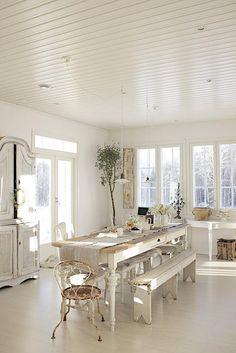 Love white...Wonderful table set...