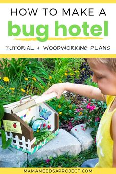 Turn your scrap wood into a DIY bug house for your kids with free woodworking plans! You won't believe how cute our little Bug Bungalow turned out! Woodworking Tutorials, Woodworking Furniture Plans, Woodworking Projects For Kids, Scrap Wood Projects, Arts And Crafts Projects, Crafts For Kids, Handmade Wooden Toys, Wooden Diy, Bug Houses For Kids
