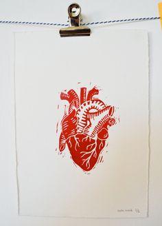 Atomic heart linocut by Chezmelleanouk on Etsy