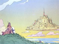 Moebius - Clouds landscapes artwork floating island