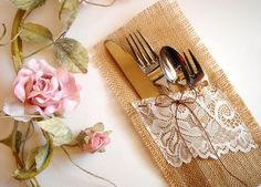 Lace+and+Burlap+Wedding+Ideas | Burlap and Lace to wrap silverware | OneWed.com
