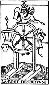 Wheel of Fortune tarot card shows the cycle of Lady Luck.