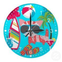 Cute Beach Bum Kitty Cat Sunglasses Beach Ball Clocks #wallclocks #zazzle #prettypatterngifts #homedecor #clocks