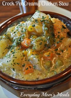 """<p>Big chunks of chicken and veggies, surrounded by a creamy, rich broth. Enough said! Get the recipe<a href=""""http://everydaymomsmeals.blogspot.com/2014/09/car-repairs-and-recipes.html""""><em><strong> here</strong></em></a>.</p>"""