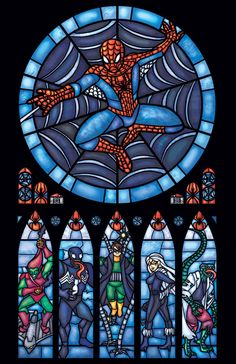 Spiderman Stained Glass Window Print  Full Size by FayProductions, $25.00