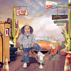 ACROSS THE DESERT RACERS by Studio SussieM, Studio Priss, Studio Lorie & Studio Emeto. http://shop.scrapbookgraphics.com/Studio-Mix-51-Across-The-Desert-Racers.html PHOTO: My Son, Jonty