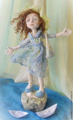 """Купить Кукла из шерсти """"Кораблик желаний"""" - голубой, валяная кукла, кукла ручной работы"""