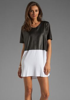 MASON BY MICHELLE MASON Leather Front Tee Dress in Black/White