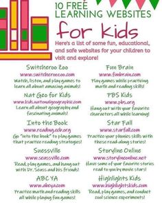 10 Free learning websites for kids that are safe & educational! Plus more things to do at Home With Your Kids. Educational tablets and writing pads, kid friendly and fun games, toddler activities and FREE learning websites and resources! Home Learning, Preschool Learning, Learning Resources, Teaching Kids, Learning Sites, Preschool Ideas, Preschool Schedule, Learning Tools, Educational Websites For Kids