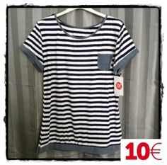 Camiseta marinera rayas azul marino y blancas bolsillo