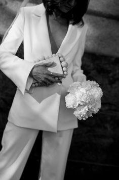 See the full Brisbane elopement & more bridal looks via thelane.com now Civil Wedding, Wedding Bride, Our Wedding, Wedding Dresses, Elopement Wedding, Karen Willis Holmes, Bride Suit, White Bridal, White Wedding Suit