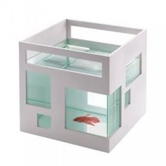 Umbra FishHotel Aquarium Always wanted to get another fish. Not an aquarium with expensive ones. Just something simple, one fish. Aquarium Design, Glass Fish Bowl, Glass Bowls, Cool Fish, Deco Design, Dot And Bo, Betta Fish, Fish Fish, Betta Tank