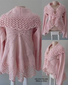 Crochet Coat Handmade Custom Product in Your Color Preference.my mom would love this oneSweater with wide collarNot a pattern. Pinning for color inspiration! Gilet Crochet, Crochet Cardigan Pattern, Crochet Jacket, Knit Or Crochet, Crochet Shawl, Crochet Patterns, Crochet Capas, Mode Crochet, Crochet Woman