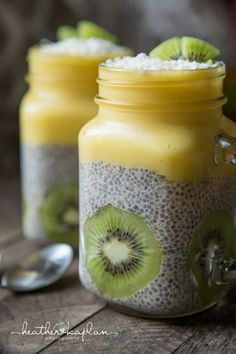Tropical Chia Pudding - Mango Pineapple Smoothie and Garnished with Kiwi and Coconut Flakes