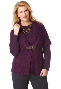 Cable Buckle Cardigan in Purple, CJ Banks.