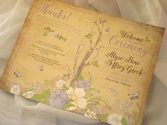 Vintage Woodland 4-Page Booklet Wedding Ceremony Program - Sample by envymarketing on Etsy