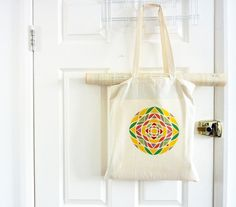 Summer Tote Bag/ Geometric Canvas Bag/ Cotton by TheToteGallery