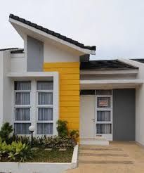 Great contemporary facade with bold burst of yellow. Would be fantastic for a beach house. Design Home Plans, Home Building Design, Home Room Design, Dream Home Design, House Roof, Facade House, Minimalis House Design, House Construction Plan, Modern House Facades