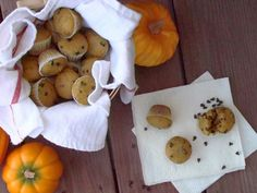 Mini Pumpkin Chocolate Chip Muffins-Easily modified to make even healthier...Works well with whole wheat flour, and a lot less sugar....