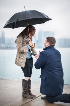The gorgeous Chicago skyline makes a perfect backdrop for this rainy day proposal. Wedding Photography List, Sister Photography, Engagement Photography, Engagement Photos, Weather Seasons, Cold Weather, Surprise Engagement, Sundance Kid, Rain Days