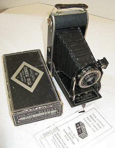 Vintage Ansco PD16 Plenax Folding Camera with Box & Manual w/ HYPAR f.6.3 lens, Great Art Deco Style, Original Box, Antique Camera, Kodak