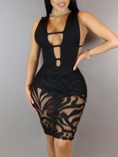 706dbf5b74 Shop Sexy Ladder Cutout Mesh Panel Bodycon Dress – Discover sexy women  fashion at IVRose