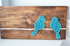 String Art, Bird art, Bird string art, Wood art, Home decor, bird on a wire, blue bird by HoweCuteCreations on Etsy