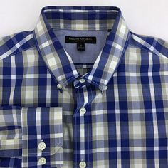 74d31e44e17d74 Banana Republic Soft Wash Slim Fit Casual Dress Shirt Men s Medium Blue  Plaid  BananaRepublic