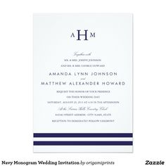 Navy Monogram Wedding Invitation Nautical themed wedding collection featuring navy stripes, monograms and anchors. View the entire Nautical Collection for matching invites, rsvp cards, postage stamps and more.