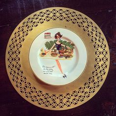 """""""I've been on a diet for two weeks and all I lost was two weeks."""" My favorite plate from a set of vintage dessert plates from my mom-in-law."""