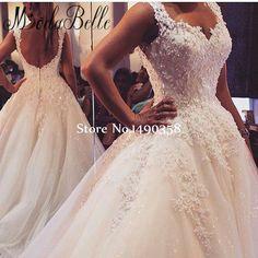 Beautiful Lace Backless Vestido De Noiva Wedding Dress Vintage Bridal Gown Applique Beaded Bride Dress Marriage 2017