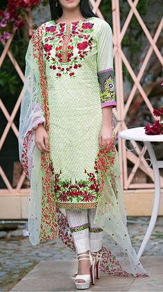 Buy Light Green Embroidered Cotton Lawn Dress by Kalyan 2016