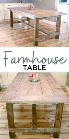 Free plans to build a Farmhouse Table. This table has been built tens of thousands of times and is loved the world over for it's basic material composition, simple clean lines, easy to build steps, and sturdy, functional size. Our step by step plans with diagrams make it easy. #anawhite #anawhiteplans #diy #diyfurniture #farmhouse #diytable #farmhousetable #thefriendlyhome Build A Farmhouse Table, Farmhouse Table With Bench, Farmhouse Furniture, Diy Furniture, Farmhouse Style, Farmhouse Decor, Outdoor Furniture, Diy Kitchen Decor, Diy Home Decor