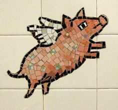 flying pig mosaic