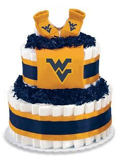 WVU Diaper Cake... Great idea for a baby shower.  shame all my children are grown up.