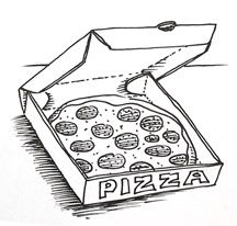 How to draw a pizza in a Pizza Box via Shoo Rayner