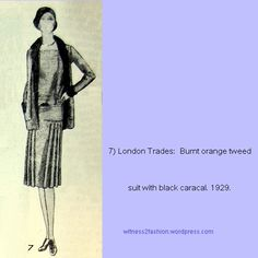 Burnt orange suit from London Trades, 1929. Delineator sketch.