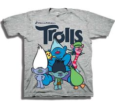 Dreamworks Trolls Cast Of Characters Grey Toddler Boys Short Sleeve Shirt Officially Licensed Dreamworks Trolls Toddler Clothes Manufacturer Freeze Apparel Free Shipping #HTownKids
