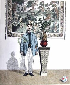 """Abigail Rorer & The Lone Oak Press """"A man, and his plant, and the errant ball of his youth"""" Hand colored etching."""